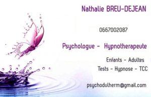 carte de visite de Nathalie Breu DEJEAN